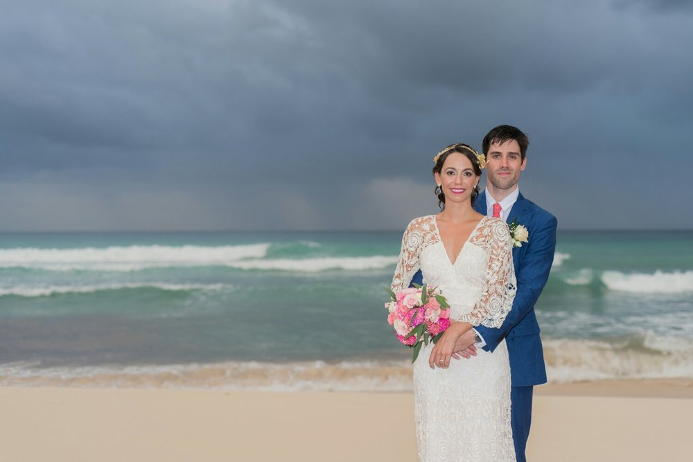 Happily just married on the Mexican caribbean