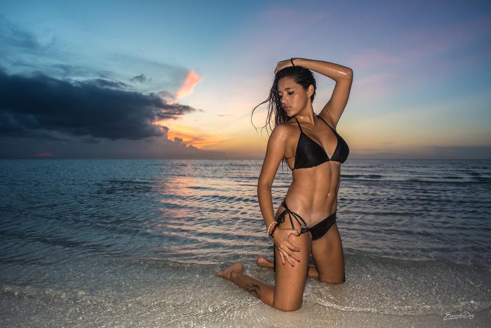 bikini shoot in holbox with a model