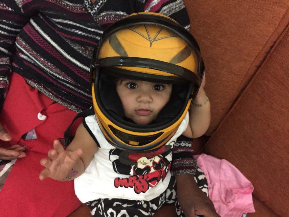 Tanishka wearing Praneel's helmet Photo by Vinay Chibba, 11 December 2016