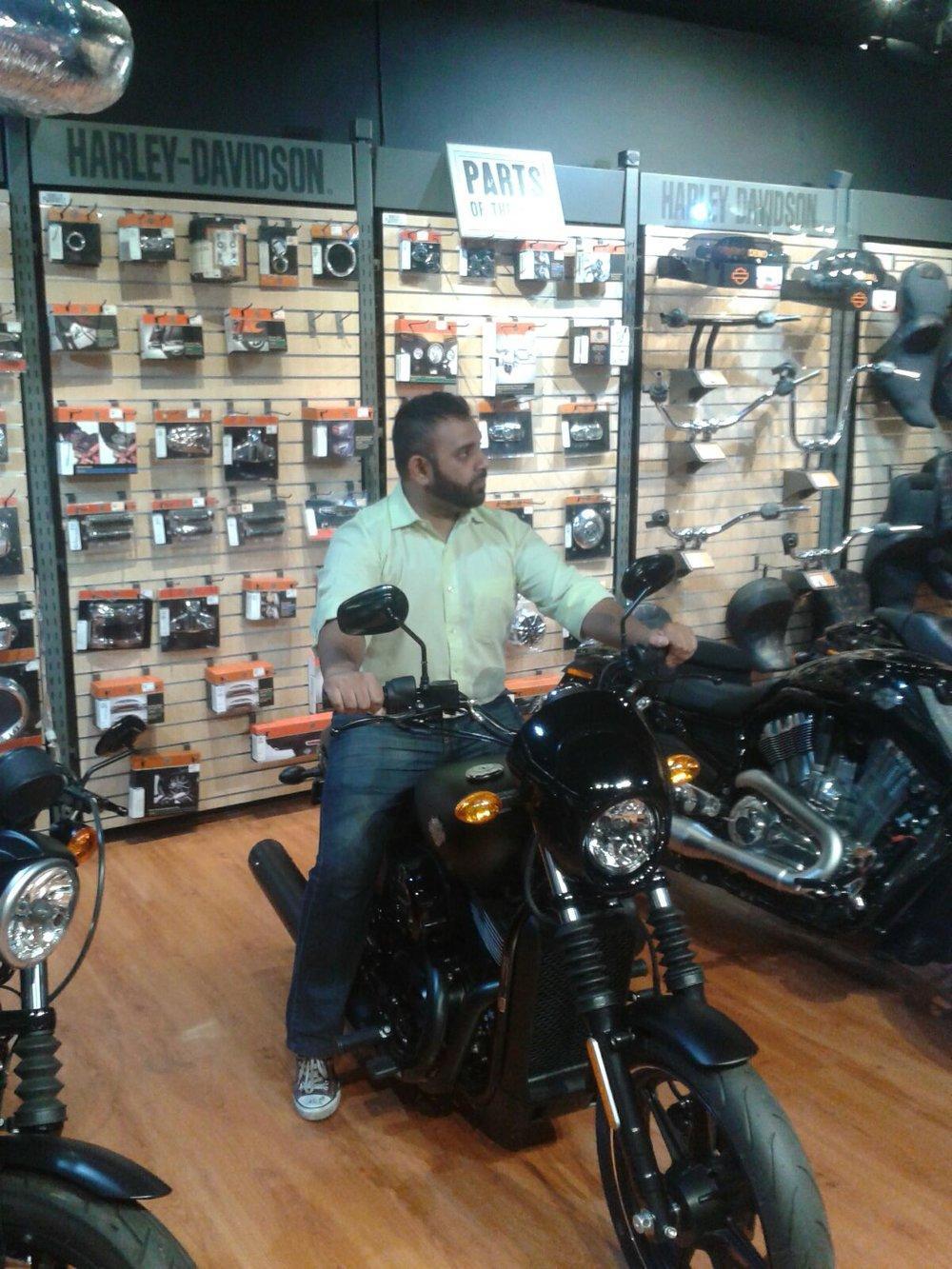 Me on a Harley Davidson Street 750, Harley Davidson Johannesburg. Photo by Mike Myburgh, 5 February 2016