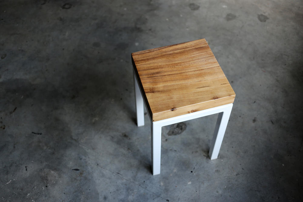 Keepers // White Stool with Solid Wood Top