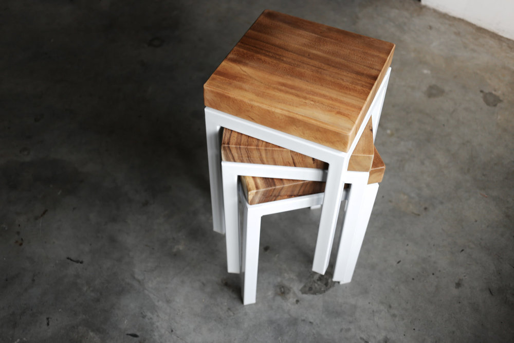 Keepers // White Stools with Solid Wood Top