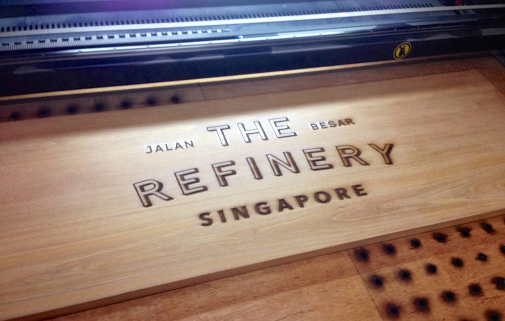 The Refinery // Wood Signage Laser Engraving