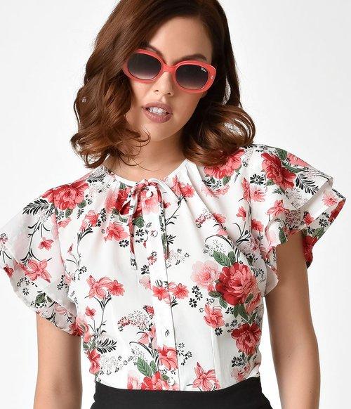 fcf257de23e5 Unique Vintage Plus Size 1940s Style White & Pink Floral Chiffon Cap Sleeve  Jeannie Blouse