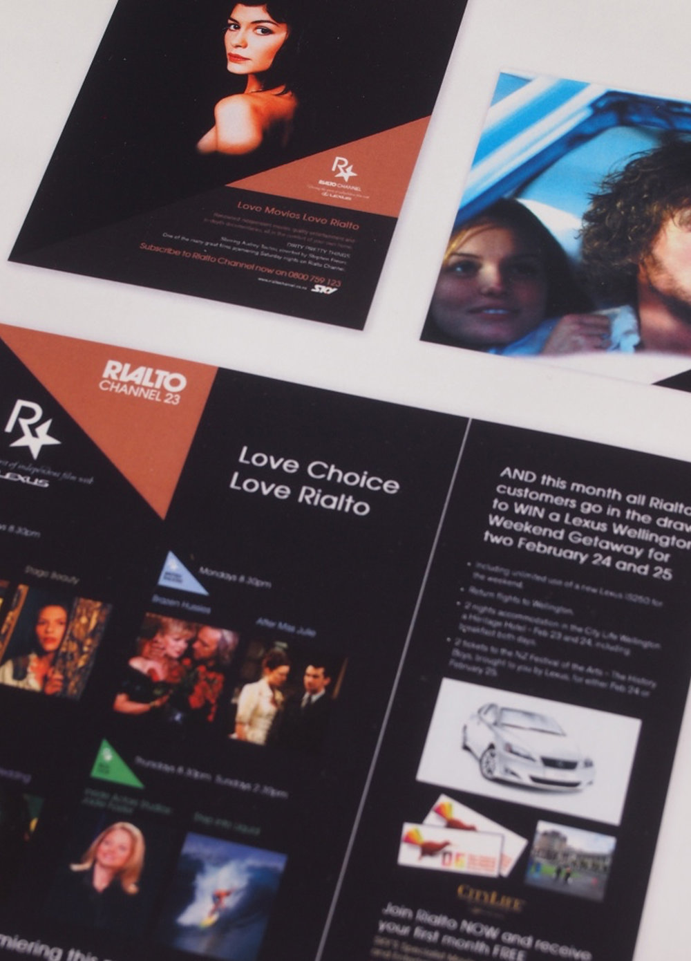 [Rialto Channel Ad Campaign 2006] Design layouts of ads, following the look and feel of the existing logo and Rialto branding.