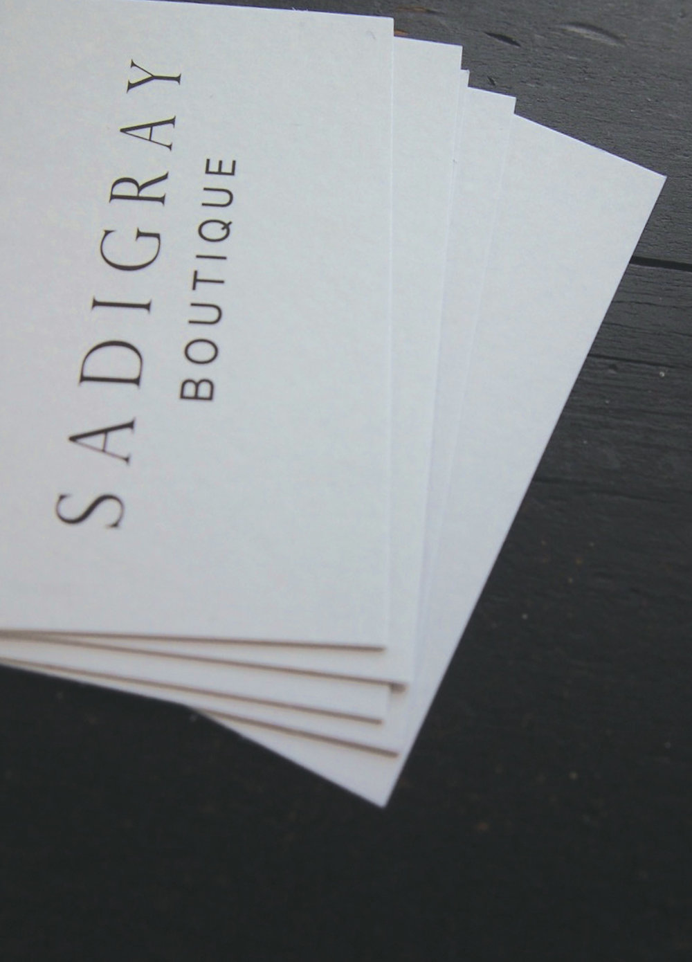 [Sadigray Boutique] Creation of a brand identity for Sadigray Boutique. Expand to business card and letterhead. [Above front of business card]