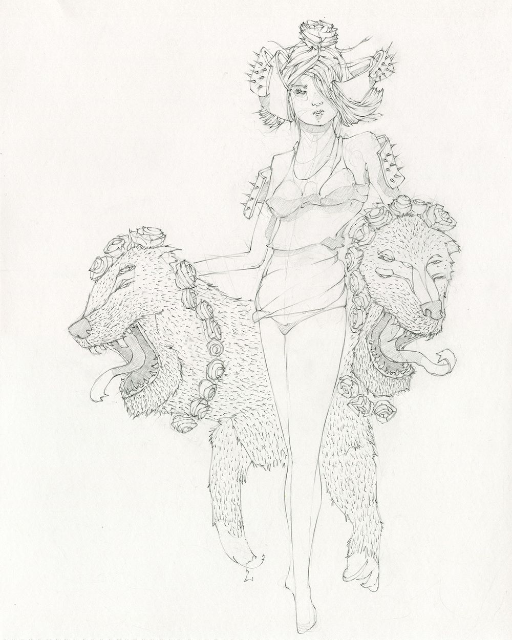 "Girl and her Two-Headed Dog/33 &3, Graphite on bristol, 11"" x 14"""