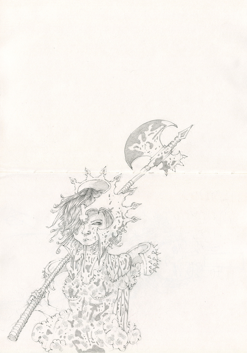 "Romper Fiddlehead, AKA Princess Blade, sketchbook, approx. 16"" x 11"""