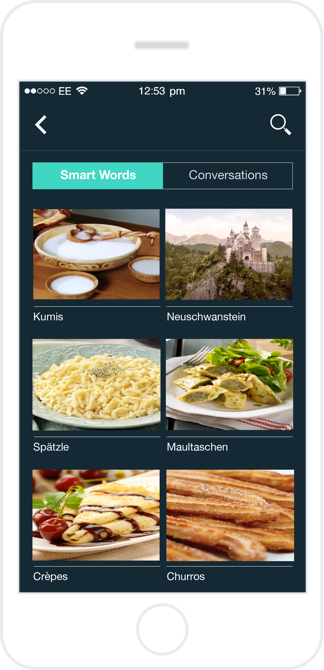 A collection of Smartwords and conversations gives the user the ability to review the exchange for any missed information, explore new touchpoints and concepts in more depth, and practice prounciation alongside the original recording.