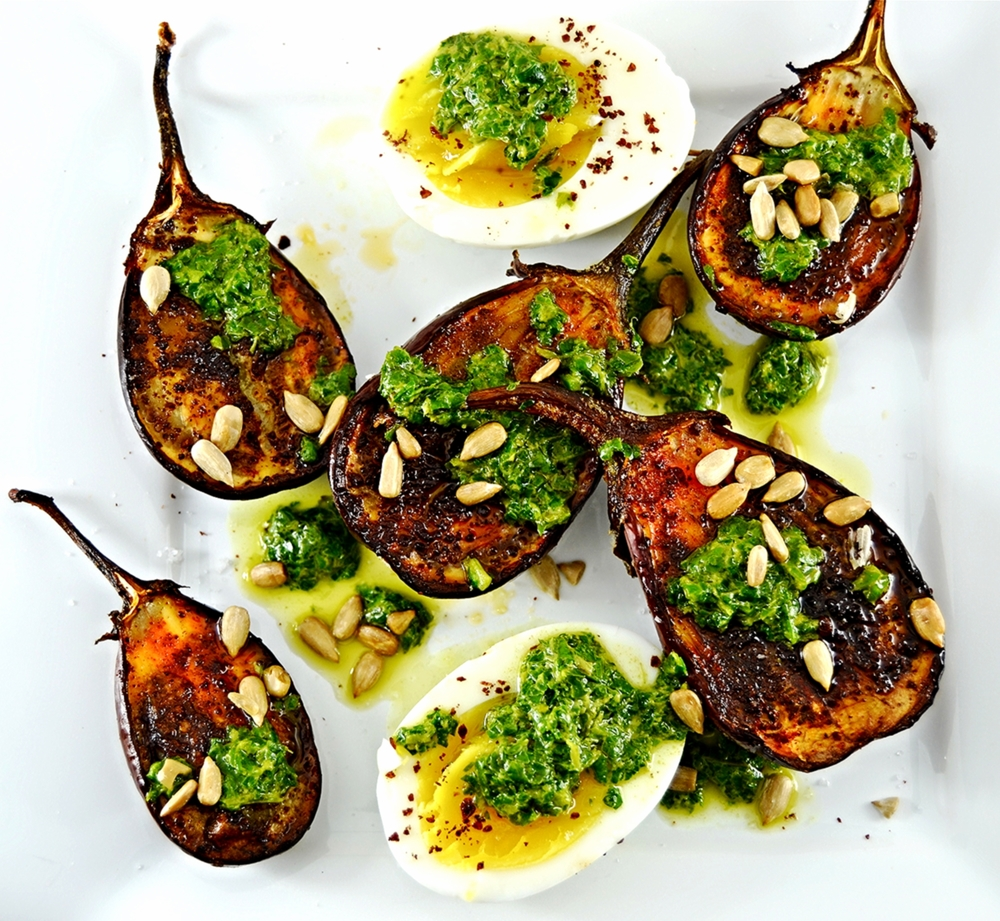 Sumac Roasted Eggplant with Salsa Verde Eggs