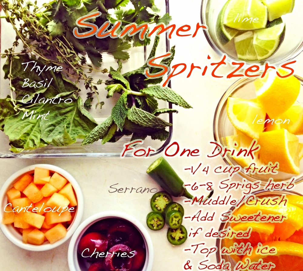 "Make your Own: Summer Fruit and Herb Spritzers  Looking for some new and refreshing summer beverages? Look no further because the possibilities are endless with the bountiful options of Summers harvest. For many years I worked in restaurants and spent most of my time behind the bar slinging cocktails so drinks are kind of my thing. Some of my favorite concoctions would always start the same way:   Some type of fresh fruit/citrus (cherries, cantaloupe, orange, lemon, lime etc)  Some type of fresh herb (cilantro, thai basil, mint, thyme, parsley etc)  Sweetener (ex  honey (raw if possible),  lacuma powder ,  yacon syrup , maple syrup, stevia etc)  Alcohol/Wine/Cordial or Soda Water / Juice for a Mock-tail   This formula gives you alot of wiggle room to be creative and make some fun and interesting drinks. There is no reason you need to spend $13 to have a special beverage when you have all the ingredients you need right at your fingertips. And do not feel like you have to use alcohol to make these, I don't drink alot so I make all of these as ""mock-tails"" (no alcohol) and I think they rock!   Some of my Favorite combos right now:    Spicy Melon Margarita    1/4 cup Cantaloupe +   10 Cilantro Leaves + 4 Serrano Pepper slices + 4 Lime Wedges + lacuma powder / yacon syrup /honey/Stevia+ pinch sea salt    Muddle and crush ingredients    Add 2 oz Tequila (optional)    Shake. Strain over fresh Ice top with soda water     Cherry Basil Spritzer   4 Basil Leaves + 4 Mint Leaves + 2 Slices Orange + 2 Wedges Lime + 6 Cherry halves +   lacuma powder / yacon syrup /honey/Stevia   Muddle and Crush Ingredients  Add 2 oz Campari or Aperol (or any Rose wine or white wine. Again alcohol optional)  Pour into large wine glass filled with ice  Top with Soda Water"