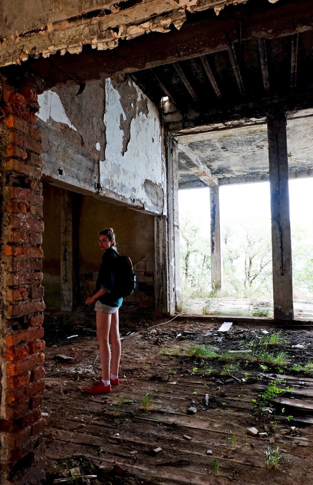 Nathalie inside the abandoned Hotel Europa