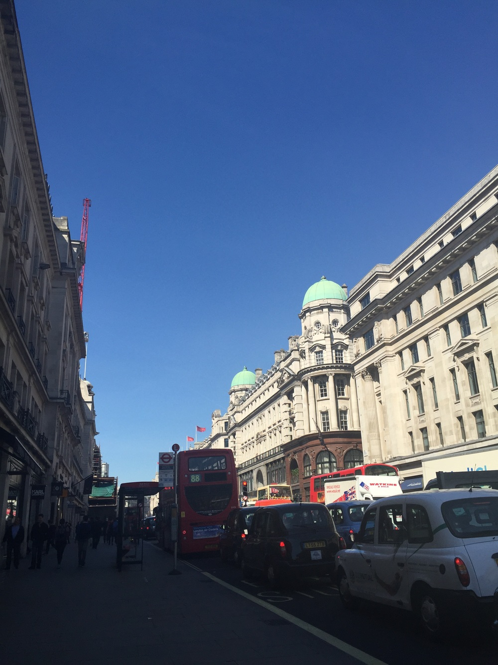 The sunshine making the traffic not seem so bad on Regent Street