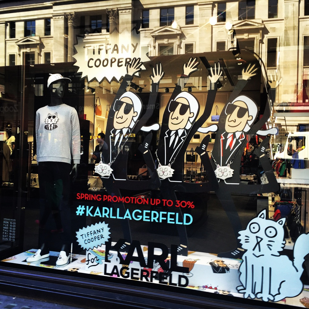 Karl Lagerfeld's window displays on Regent Street.