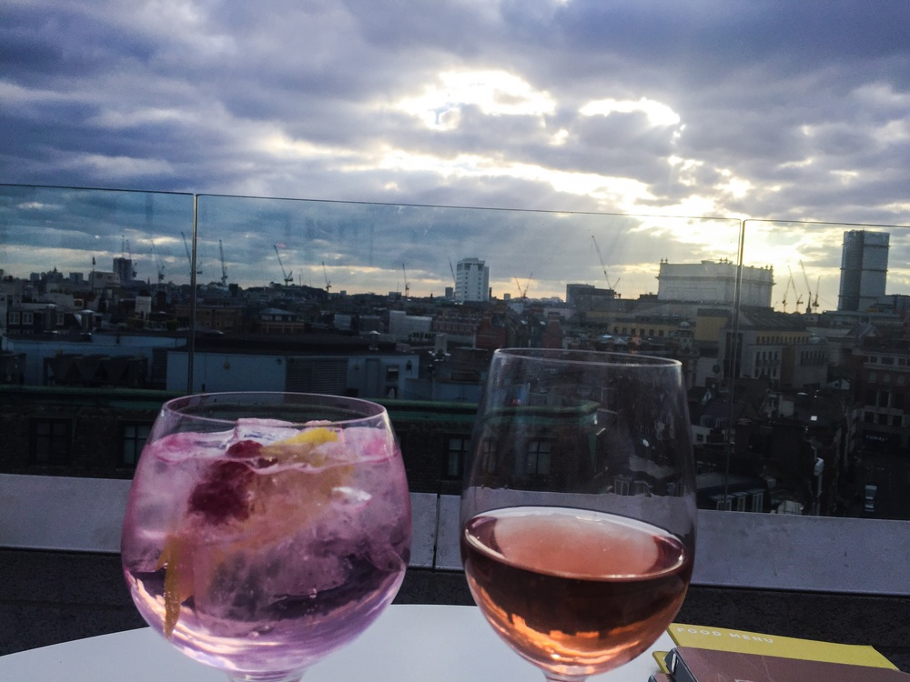 Drinks with a view, catching up with Rebecca