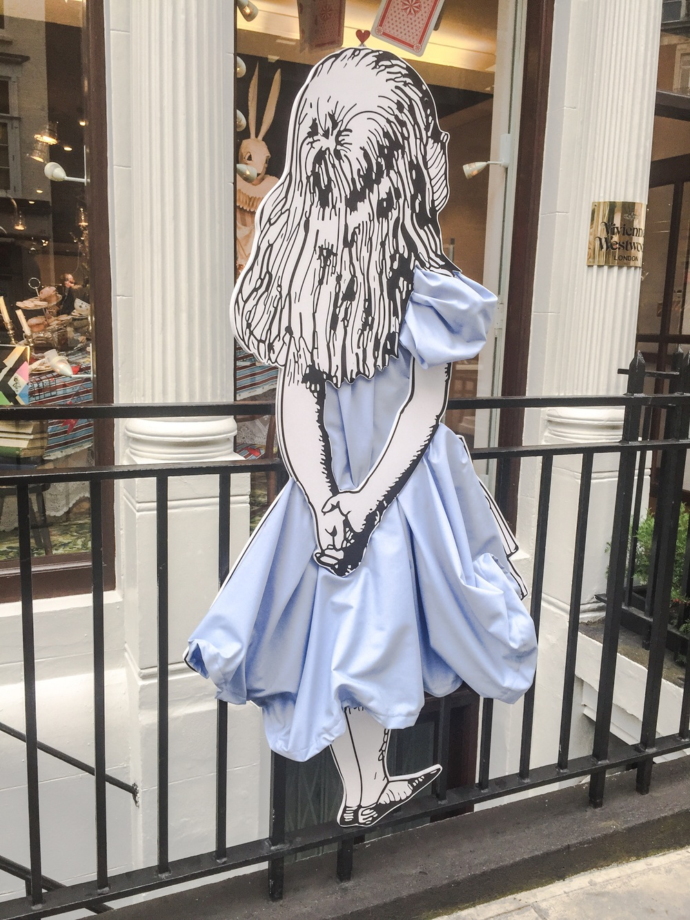 Vivienne Westwood celebrating Alice in Wonderland outside their Conduit Street store