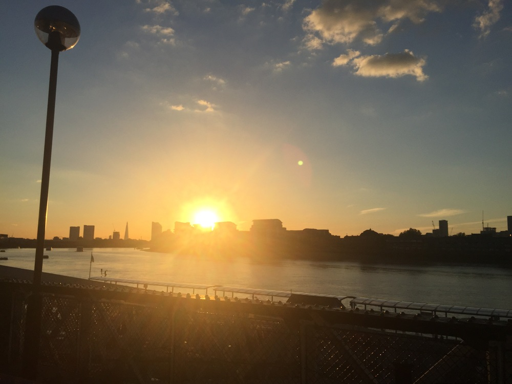 Beautiful sunset in Greenwich, overlooking Canary Wharf