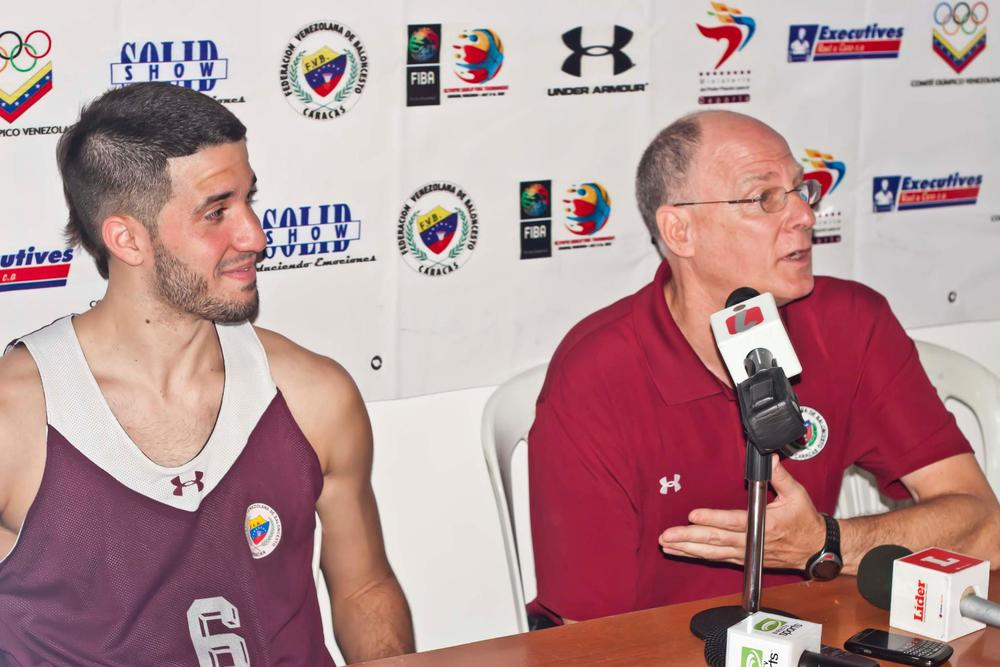 Greivis Vasquez of the Toronto Raptors and Venezuelan National Team and Coach Brad Greenberg