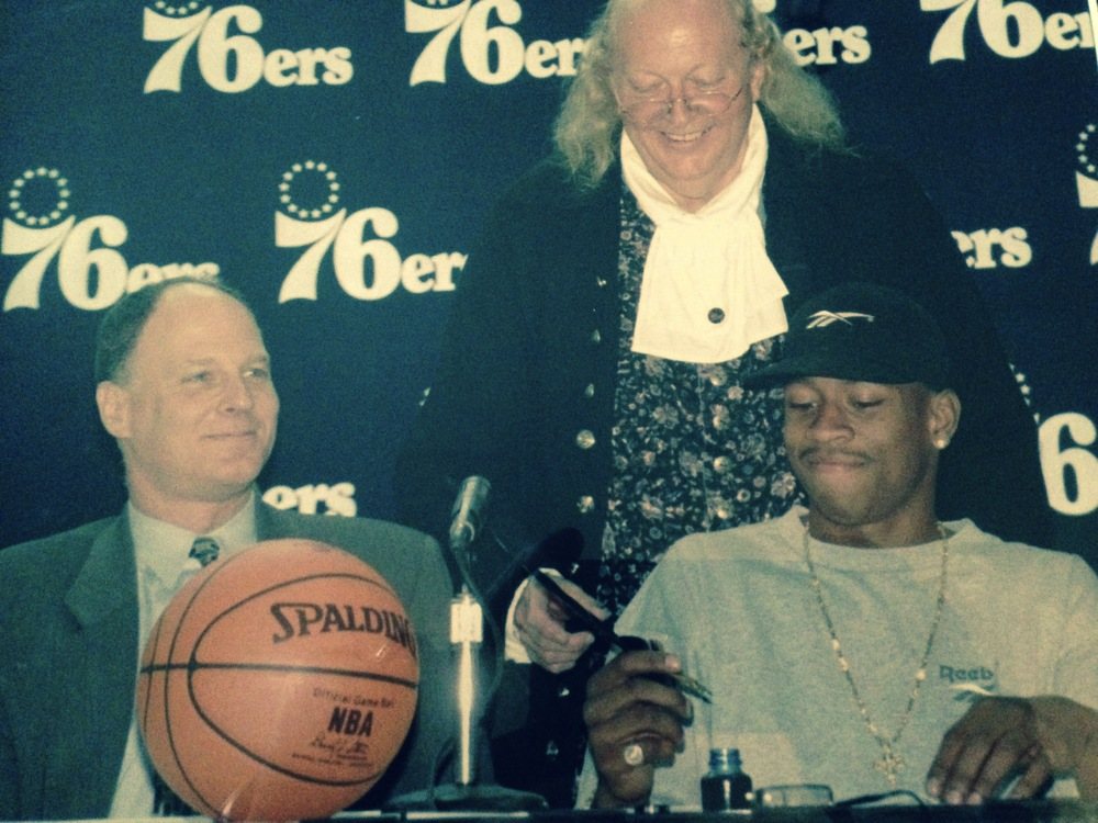 September 13, 1996 - Brad ss GM / VP Basketball Operations of the Philadelphia 76ers with Allen Iverson as he signs a $9.34 million rookie contract.