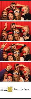 photo booth 2x6 photostrip with red curtain backdrop
