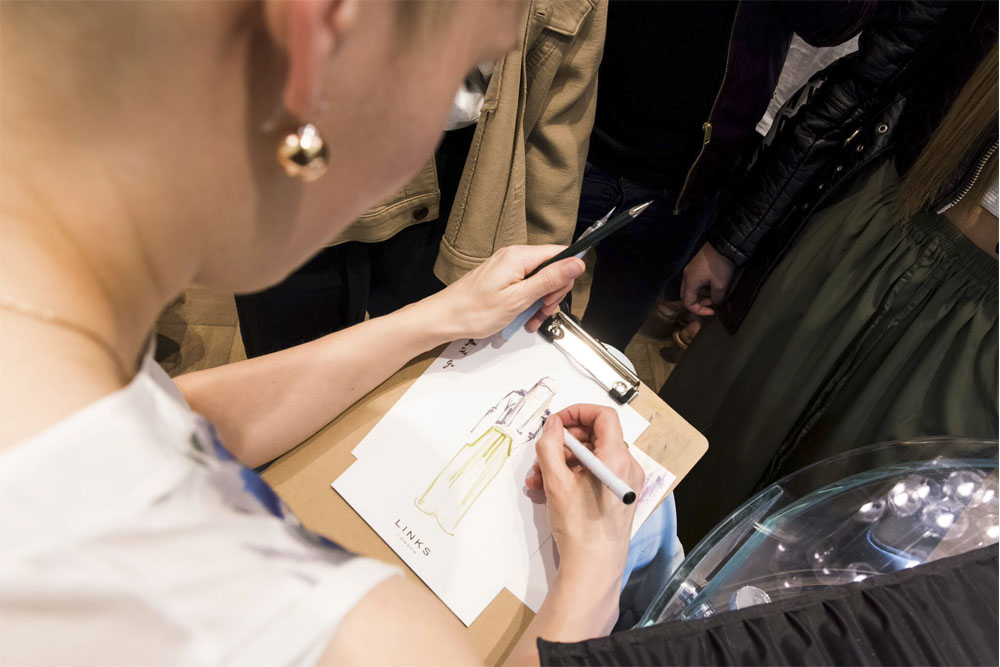 Live fashion illustration in London with links of London