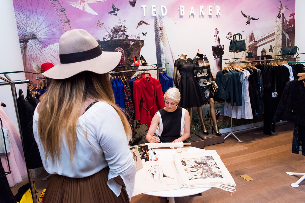Live drawing event at Ted Baker Selfridges