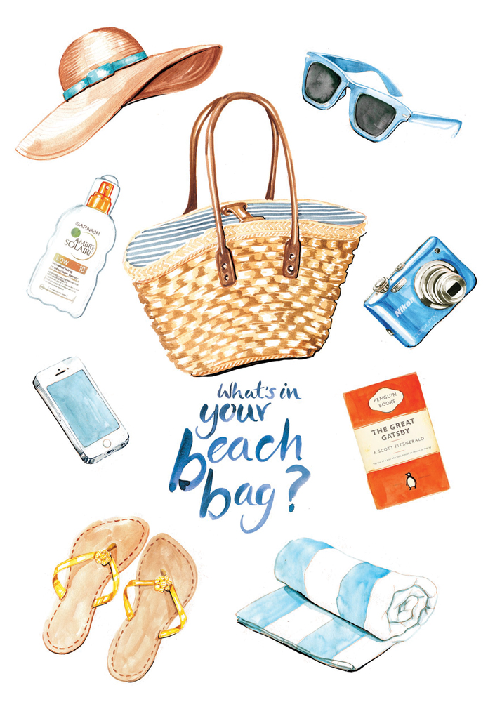 Beach bag contents illustration