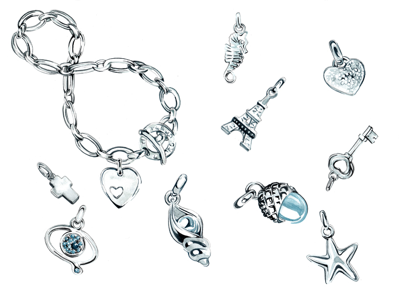 Silver Charm Bracelet - Jewellery Illustration