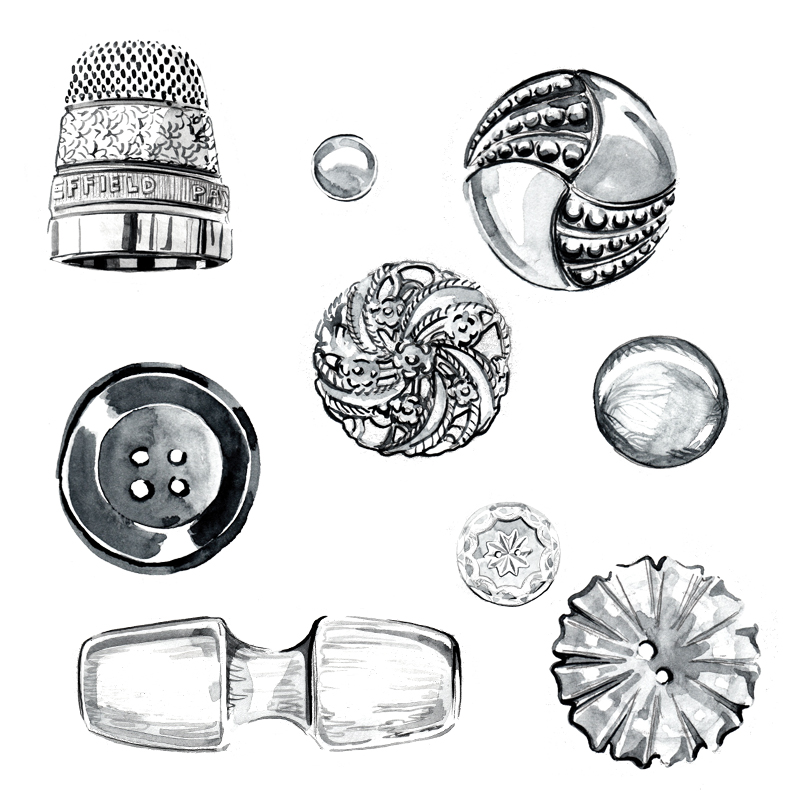 B&W buttons - Product Illustration