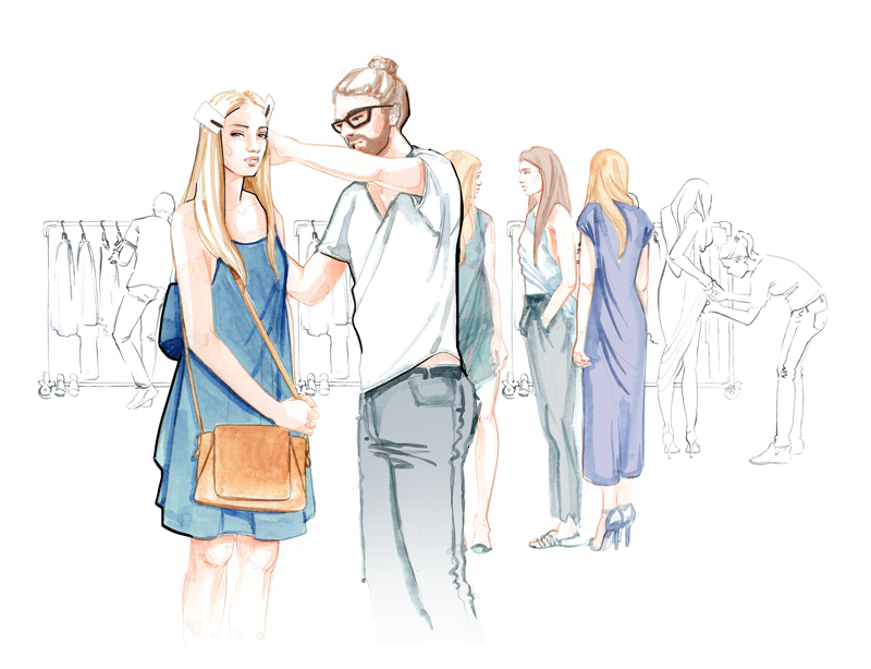 Behind the scenes at London Fashion Week illustration by Willa Gebbie