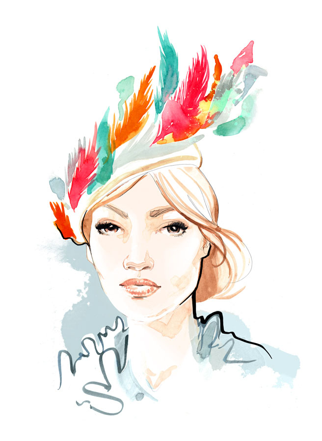 Awon Golding's Ibis Pillbox Hat - Fashion Illustration by Willa Gebbie