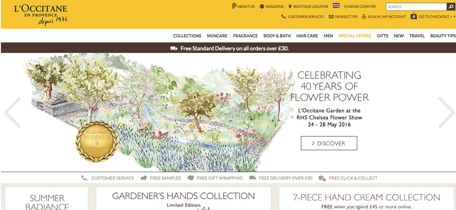 L'Occitanes website header featuring Willa Gebbie garden illustration