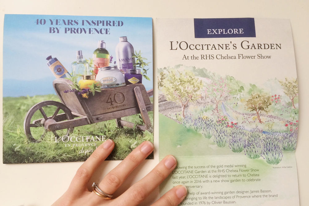 L'Occitanes leaflets featuring Willa Gebbie garden illustration