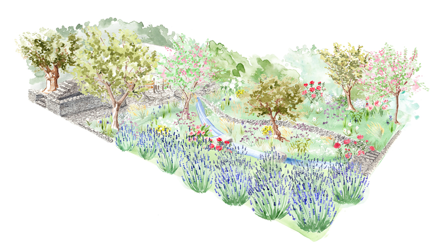 Watercolour flower garden illustration for L'Occitane