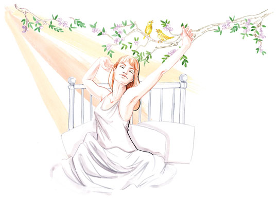Sleep well, figurative lifestyle illustration for Top Sante Magazine by Willa Gebbie