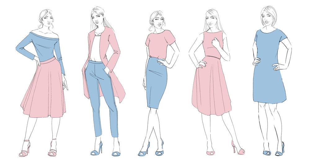 fashion illustration _linear_b&w_willagebbie