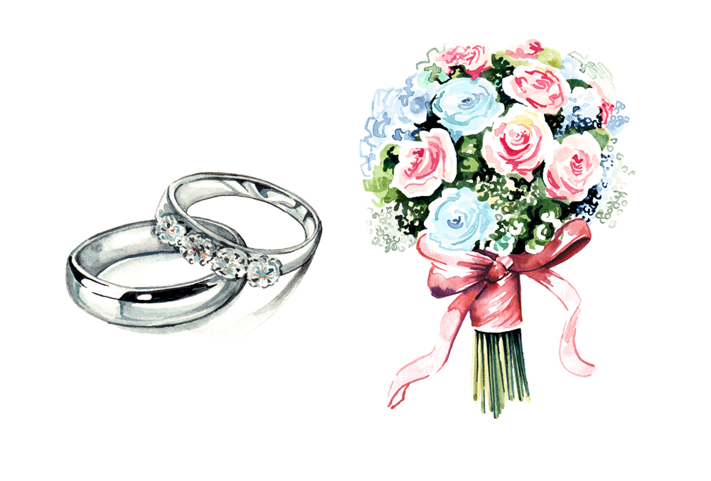 wedding bouquet and wedding band rings illustration
