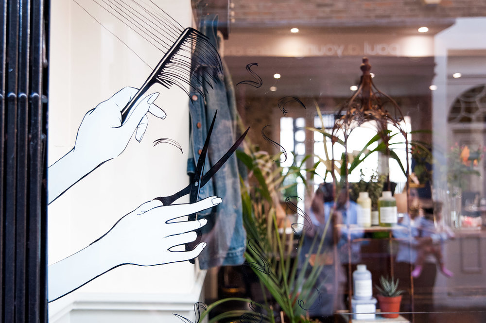 Live installation, Shop Window painting illustration by Willa Gebbie