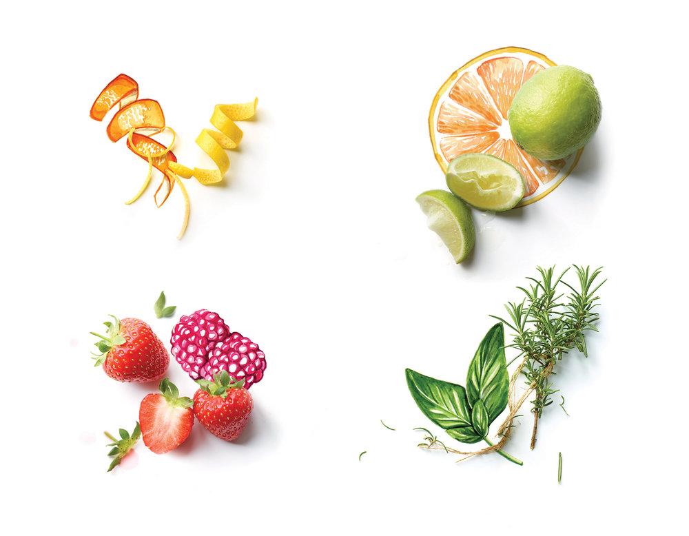 Willa Gebbie food illustration for Waitrose magazine with photography