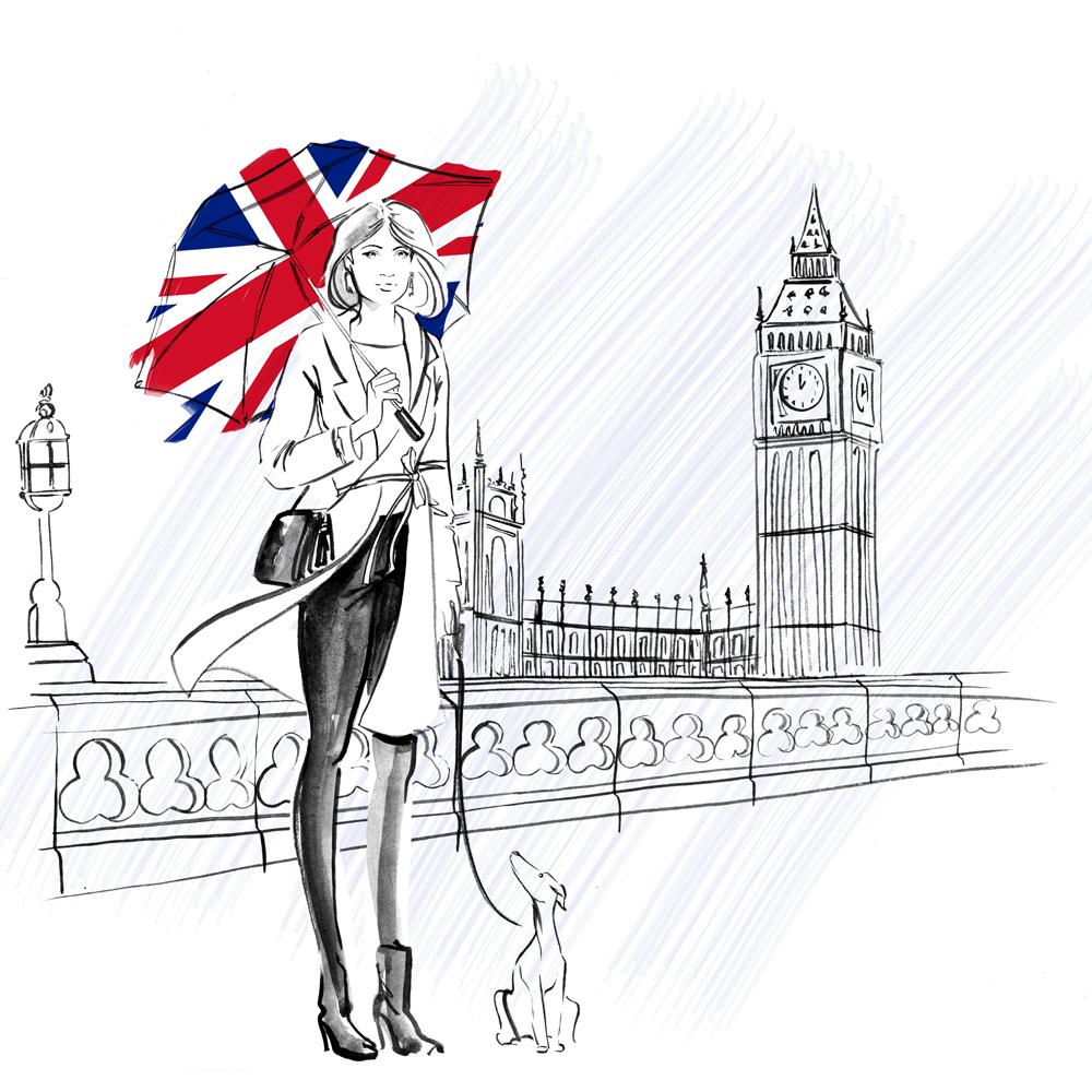 b&w London fashion illustration