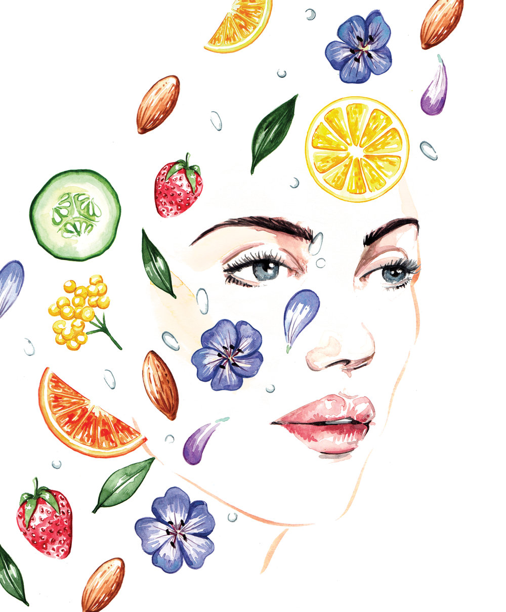 Beauty illustrations watercolour Top Santé magazine