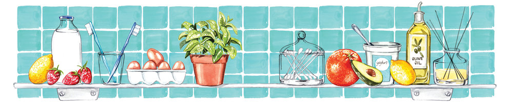 Bathroom Shelf - Beauty and food illustrations watercolour Top Santé magazine