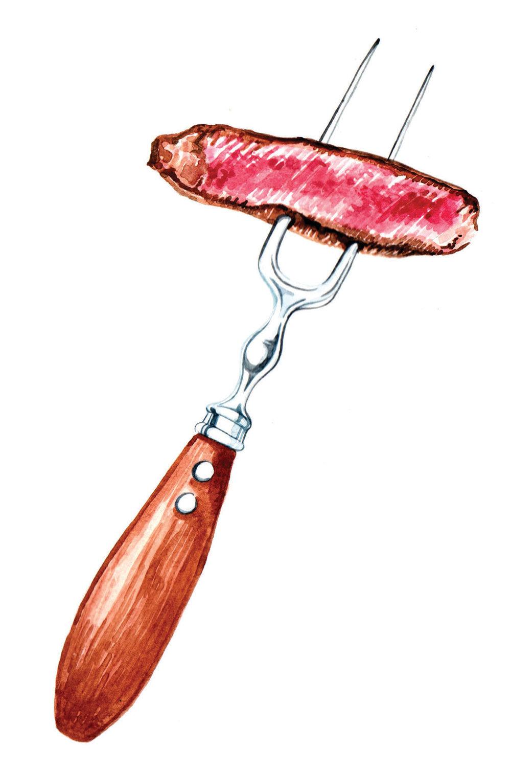 watercolour food illustrations steak on fork