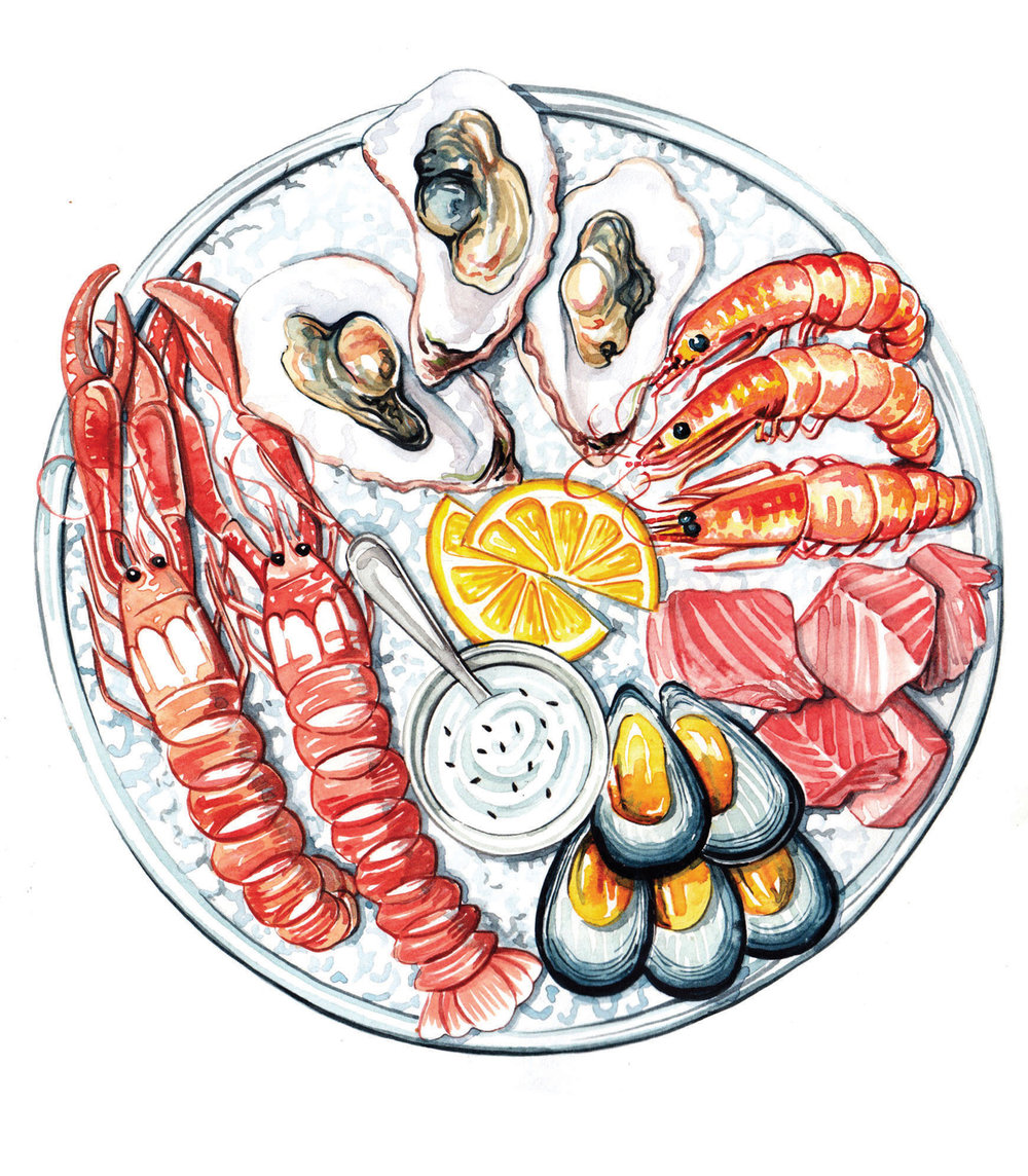 watercolour food illustrations seafood platter plate