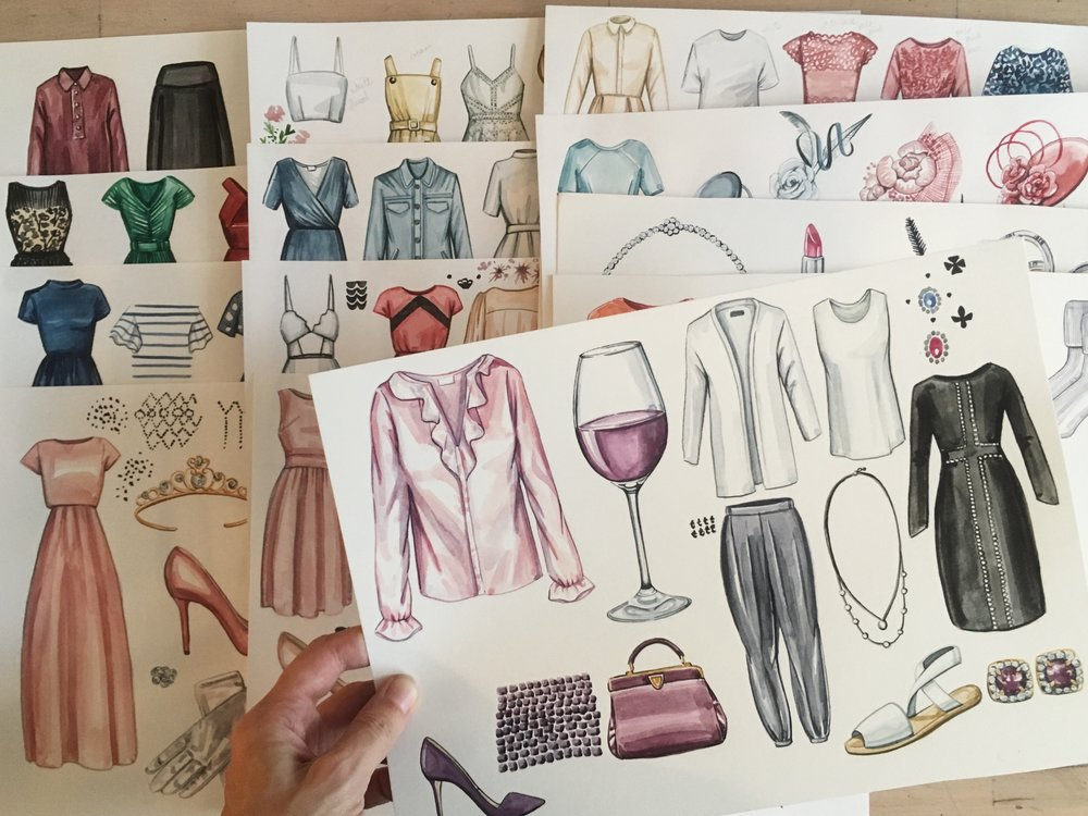 hand painted watercolour illustrations for fashion book, Wardrobe Wisdom