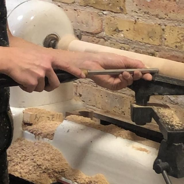 in process CAMBER lounge . . . First run since v1. Order of operations is always easier with 20/20 hindsight... . . . BTW Lydia is a badass on the lathe. She does 100% of our turning. . . . #laylostudio #camber #loungechair #handmade #woodturning #lathe #woodworking #joinery #customfurniture #badass #chicago