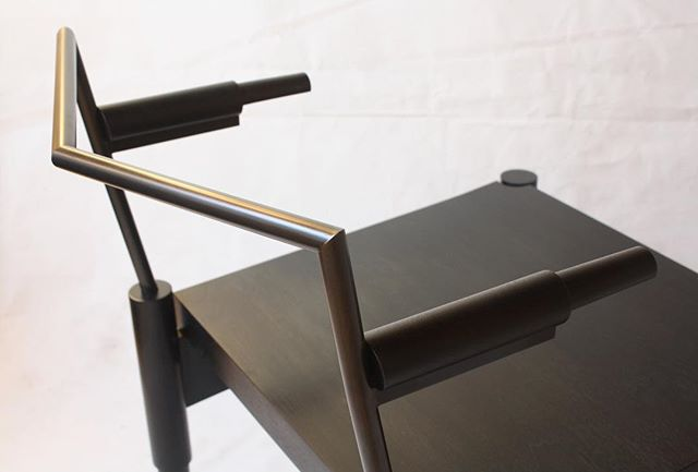 CAMBER | ebonized walnut/blackened steel | stay warm out there ya'll | #laylostudio #camber #lounge #chair #handmade #details #customfurniture #interiordesign #madetoorder #walnut #blackenedsteel #furnituredesign #chicago #blackonblack