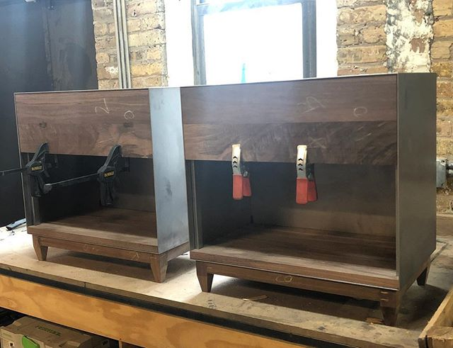 OXIDE/one pair almost ready to go . . . #laylostudio #oxide #process #customfurniture #blackenedsteel #ebonizedwalnut #walnut #woodworking #metalworking #welding #interiordesign #finefurniture #chicago #matchymatchy #crispy #krispykreme