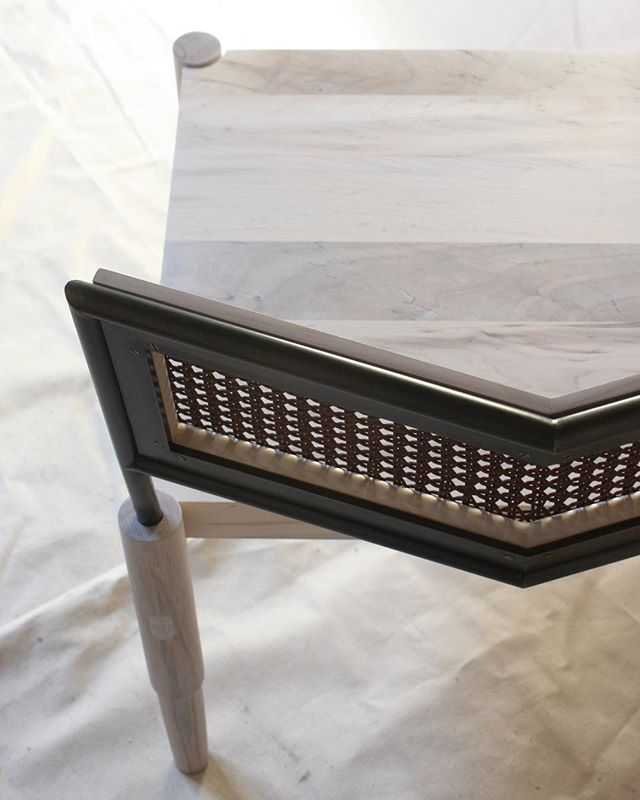 detail/CAMBER . woven leather/blackened steel/maple . Check out the interview we did with @1stdibs The Study about our chair and the resurgence of cane in contemporary furniture. . Link in profile . . . #laylostudio #camber #1stdibs #wovenleather #cane #traditionaltechniques #contemporarycontext #customfurniture #handmade #woodworking #metalwork #weaving #holetoholecaning #leather #finefurniture #design #chicago