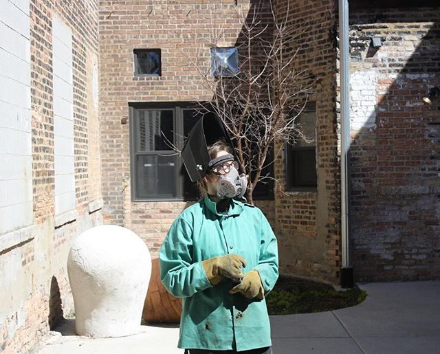 4/22-EARTH DAY . Lydia enjoying some sunshine filtered by our wonderful ozone layer . #laylostudio #process #welding #brighterthanthesun #earthday #ozone #staysafeoutthere #portraitphotography #chicago
